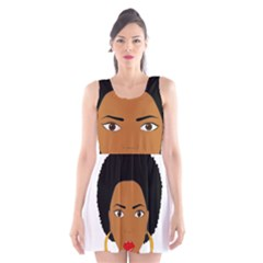 African American Woman With §?urly Hair Scoop Neck Skater Dress by bumblebamboo
