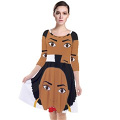 African American Woman With §?urly Hair Quarter Sleeve Waist Band Dress by bumblebamboo
