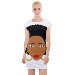 African American Woman With §?urly Hair Cap Sleeve Bodycon Dress