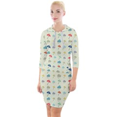 Clouds And Umbrellas Seasons Pattern Quarter Sleeve Hood Bodycon Dress