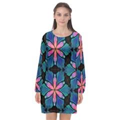 Ornament Digital Color Colorful Long Sleeve Chiffon Shift Dress  by Pakrebo