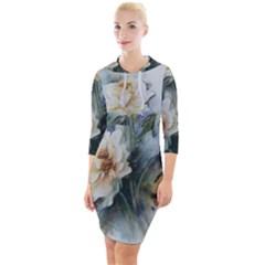 Roses Watercolour Quarter Sleeve Hood Bodycon Dress