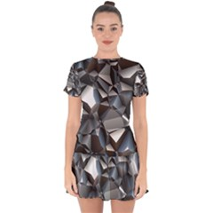 Triangles Polygon Color Silver Uni Drop Hem Mini Chiffon Dress by Pakrebo