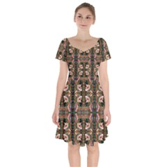 Dragons Short Sleeve Bardot Dress