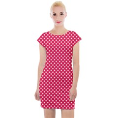 Red With White Polka Dots Cap Sleeve Bodycon Dress
