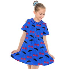 Umbrellas And Bows Kids  Short Sleeve Shirt Dress by VeataAtticus
