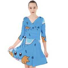 Patokip Quarter Sleeve Front Wrap Dress