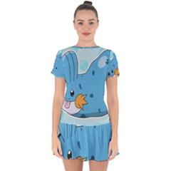 Patokip Drop Hem Mini Chiffon Dress