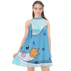 Patokip Halter Neckline Chiffon Dress