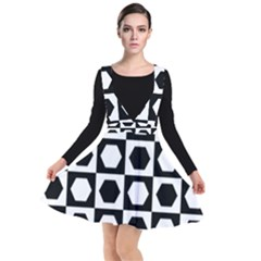 Chessboard Hexagons Squares Plunge Pinafore Dress
