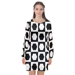 Chessboard Hexagons Squares Long Sleeve Chiffon Shift Dress