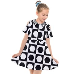 Chessboard Hexagons Squares Kids  Short Sleeve Shirt Dress by Alisyart