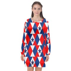Patriotic Stars Long Sleeve Chiffon Shift Dress  by AnjaniArt