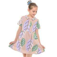 Leaf Pink Kids  Short Sleeve Shirt Dress by Jojostore