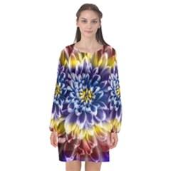 Rainbow Chrysanthemum Long Sleeve Chiffon Shift Dress  by bloomingvinedesign
