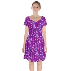 Burgundy With Light Blue Daises   Short Sleeve Bardot Dress