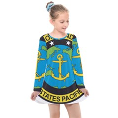 Seal Of Commander Of United States Pacific Fleet Kids  Long Sleeve Dress by abbeyz71