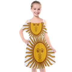 Argentina Flag Kids  Cut Out Shoulders Chiffon Dress by FlagGallery