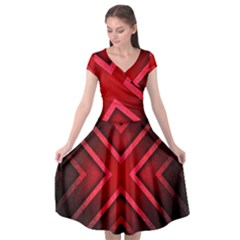 Wallpaper Red Abstract Cap Sleeve Wrap Front Dress