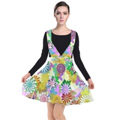 Illustration Pattern Abstract Plunge Pinafore Dress
