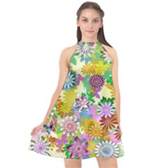 Illustration Pattern Abstract Halter Neckline Chiffon Dress