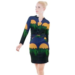 Neon City Retro Grid 80s Button Long Sleeve Dress