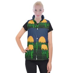 Neon City Retro Grid 80s Women s Button Up Vest