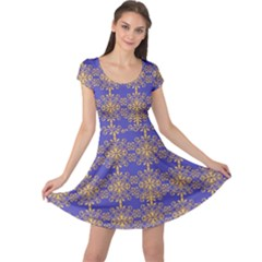 Pattern Wallpaper Ornament Retro Cap Sleeve Dress