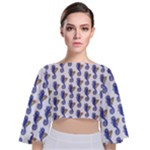 Seahorses Tie Back Butterfly Sleeve Chiffon Top
