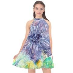 Flower Halter Neckline Chiffon Dress