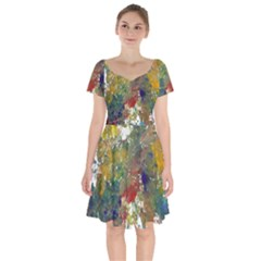 Abstract Short Sleeve Bardot Dress