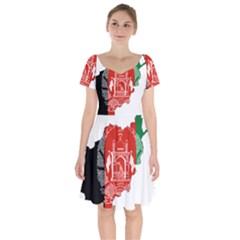 Afghanistan Flag Map Short Sleeve Bardot Dress