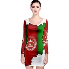 Afganistan Flag Map Long Sleeve Bodycon Dress