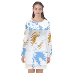 Flag Map Of Islas Malvinas Long Sleeve Chiffon Shift Dress