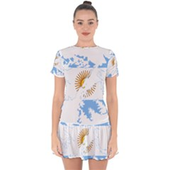 Flag Map Of Islas Malvinas Drop Hem Mini Chiffon Dress