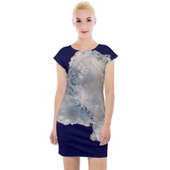 Satellite Image Of Antarctica Cap Sleeve Bodycon Dress