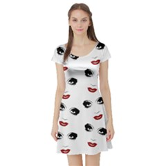 Bianca Del Rio Pattern Short Sleeve Skater Dress by Valentinaart
