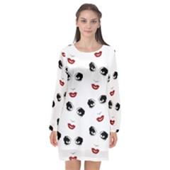 Bianca Del Rio Pattern Long Sleeve Chiffon Shift Dress  by Valentinaart