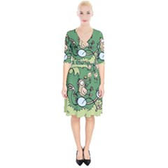 Ostrich Jungle Monkey Plants Wrap Up Cocktail Dress