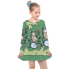 Ostrich Jungle Monkey Plants Kids  Long Sleeve Dress by Bajindul