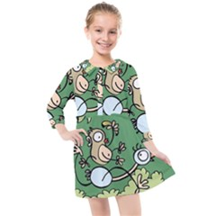 Ostrich Jungle Monkey Plants Kids  Quarter Sleeve Shirt Dress by Bajindul
