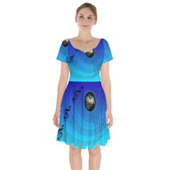 Music Reble Sound Concert Short Sleeve Bardot Dress