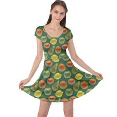 Background Fruits Several Cap Sleeve Dress