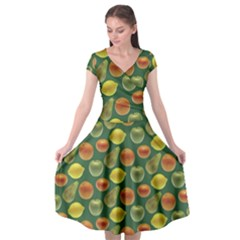 Background Fruits Several Cap Sleeve Wrap Front Dress