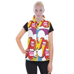 Wow Mouth Polka Pop Women s Button Up Vest