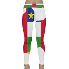 Central African Republic Flag Map Classic Yoga Leggings by Sapixe