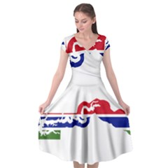 Gambia Flag Map Geography Outline Cap Sleeve Wrap Front Dress by Sapixe