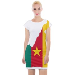 Cameroon Flag Map Geography Cap Sleeve Bodycon Dress