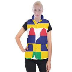 Mauritius Flag Map Geography Women s Button Up Vest by Sapixe
