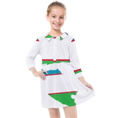 Borders Country Flag Geography Map Kids  Quarter Sleeve Shirt Dress by Sapixe